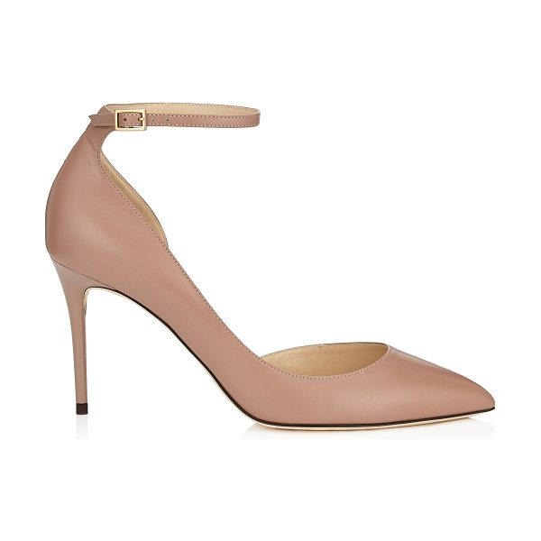 Jimmy Choo LUCY 85 Ballet Pink Kid Leather Pointy Toe Pumps in ballet pink - A modern take on a Dorsay pointy toe pump, Lucy...