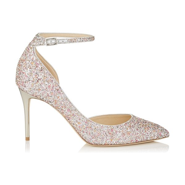 Jimmy Choo LUCY 85 Camellia Mix Speckled Glitter Pointy Toe Pumps in camellia mix - A modern take on a Dorsay pointy toe pump, Lucy...