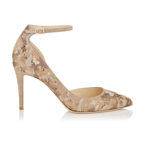 JIMMY CHOO LUCY 85 Nude Floral Embroidery on Suede Pointy Toe Pumps - A modern take on a Dorsay pointy toe pump, Lucy...