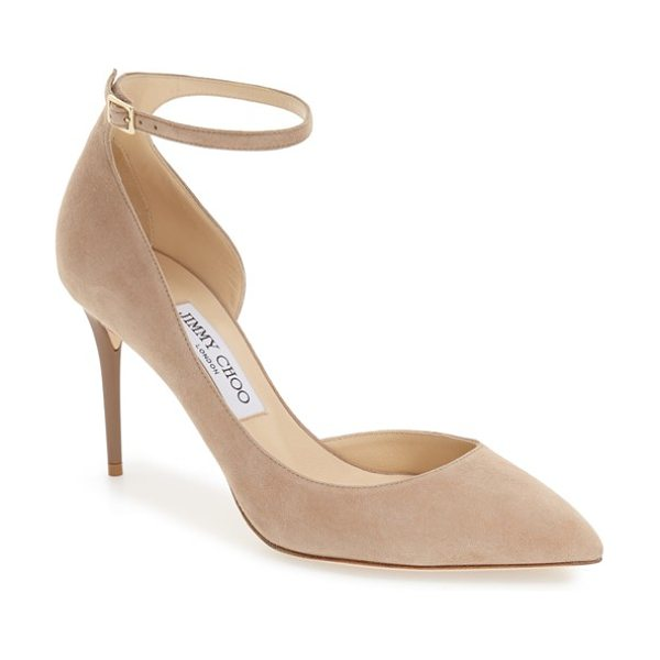 Jimmy Choo jimmy choo 'lucy' half d'orsay pointy toe pump in nude suede - A curvy, half-d'Orsay pump boasts a svelte, streamlined...