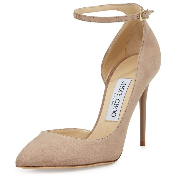 "Jimmy Choo Lucy Half-d'Orsay Suede Pump in nude - Jimmy Choo suede pump. 4"" lacquered stiletto heel...."