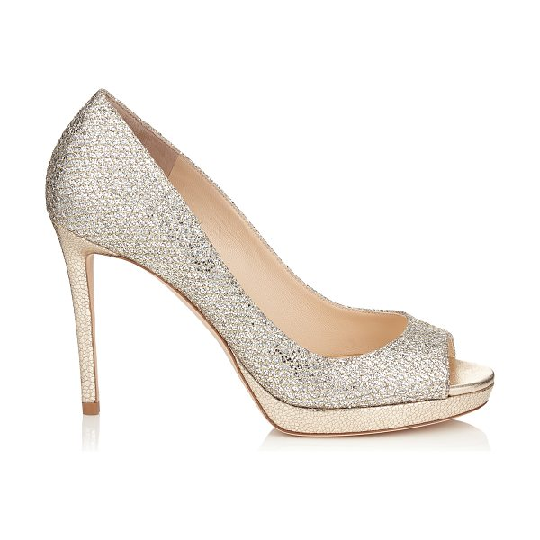 Jimmy Choo LUNA 100 Champagne Glitter Fabric Peep Toe Platform Pumps in champagne - A versatile and contemporary peep toe platform pump....