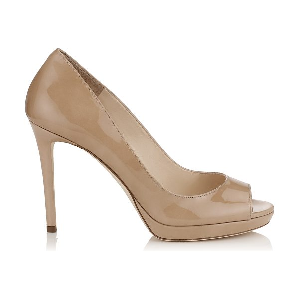 Jimmy Choo LUNA 100 Nude Patent Leather Peep Toe Platform Pumps in nude - A versatile and contemporary peep toe platform pump....