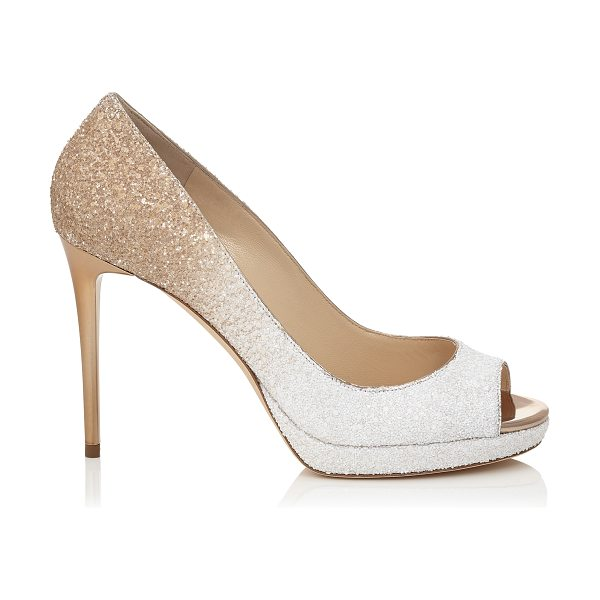 Jimmy Choo LUNA 100 Optic White and Light Honey Coarse Glitter Degrade Peep Toe Platform Pumps in optic white/light honey - A versatile and contemporary peep toe platform pump....