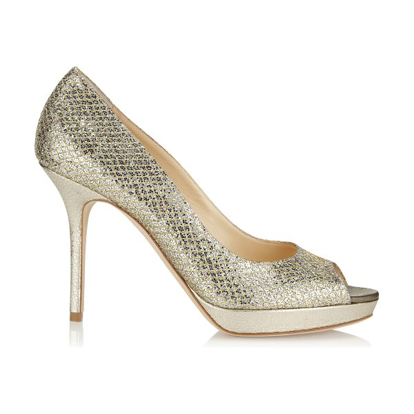 JIMMY CHOO LUNA Champagne Glitter Fabric Platform Peep Toe Pumps - Wear these sparkly platform pumps with everything from...