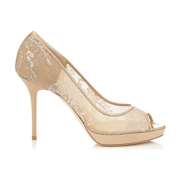 Jimmy Choo Luna nude lace and patent peep toe pumps in nude - Delicate floral lace trimmed with nude patent,...