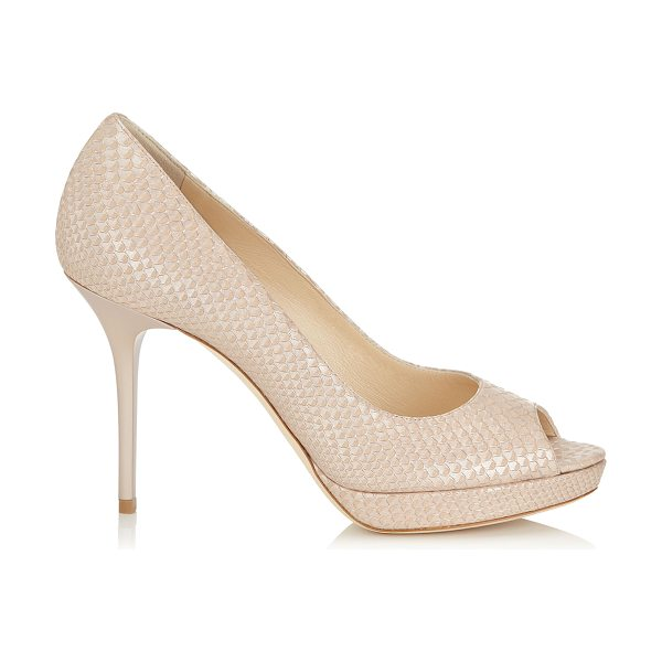 Jimmy Choo Luna nude pearlised printed leather peep toe platform pumps in nude - A versatile and contemporary peep toe platform pump....