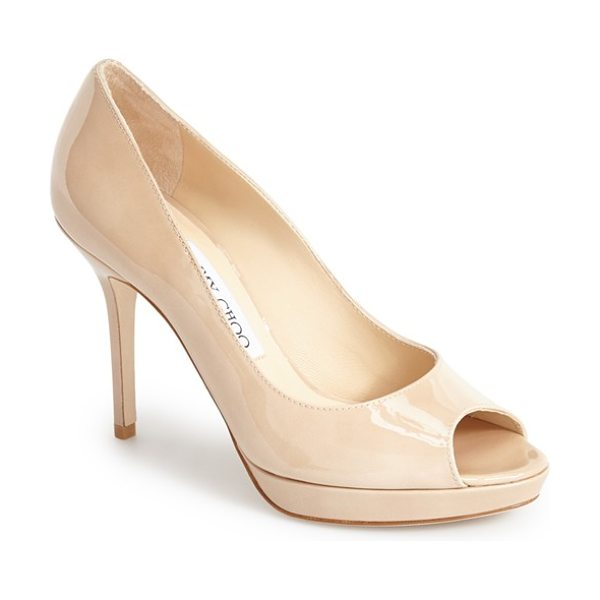 Jimmy Choo luna peep toe platform pump in nude patent - A slender wrapped heel grounds a glossy patent leather...