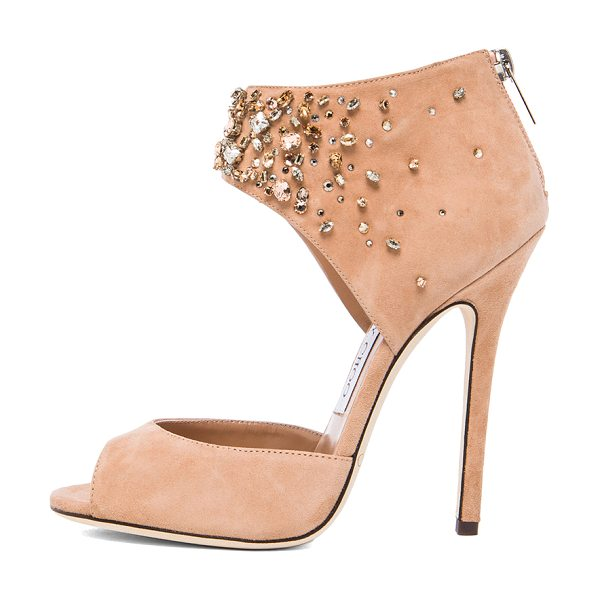 Jimmy Choo Lust suede heels in neutrals,metallics - Suede upper with leather sole.  Made in Italy.  Approx...