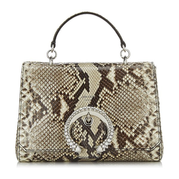 Jimmy Choo MADELINE TOP HANDLE Natural Python Top Handle Bag with Crystal Buckle in natural