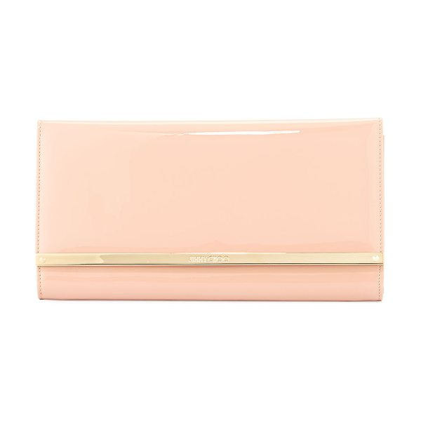 Jimmy Choo Maia large patent wallet clutch bag in nude - ONLYATNM Only Here. Only Ours. Exclusively for You....
