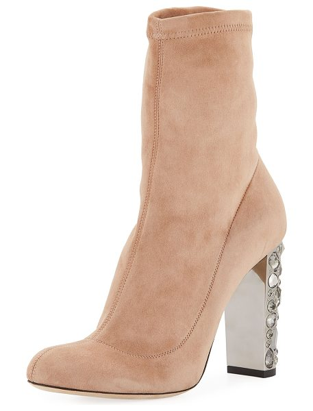 "JIMMY CHOO Maine Stretch Suede Bootie with Crystal Heel - Jimmy Choo stretch-suede bootie. 4"" jeweled covered..."