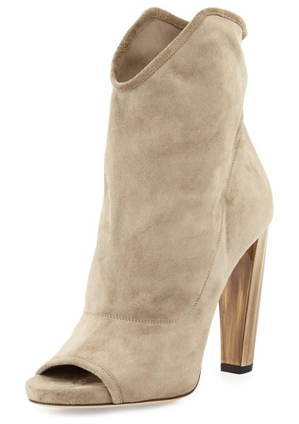 "Jimmy Choo Maja 110mm suede open-toe bootie in light khaki - Jimmy Choo suede bootie. 4. 3"" heel. Open toe. Dipped..."