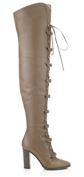 JIMMY CHOO MALOY 95 Taupe Grey Leather Over-the-Knee Boots - This towering over-the-knee boot is sure to get you...