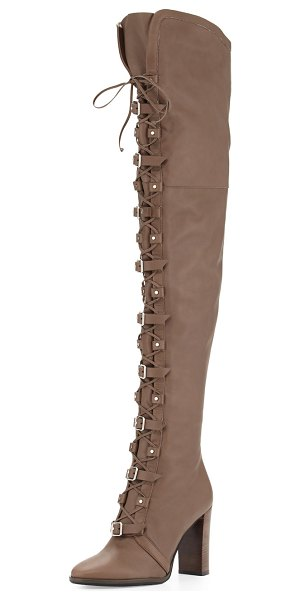"Jimmy Choo Maloy Leather 95mm Over-the-Knee Boot in taupe gray - Jimmy Choo leather moto-style over-the-knee boot. 3.8""..."