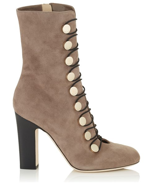 Jimmy Choo MALTA 100 Light Mocha Suede Ankle Boots in light mocha - Malta is a retro inspired ankle boot. The metal press...