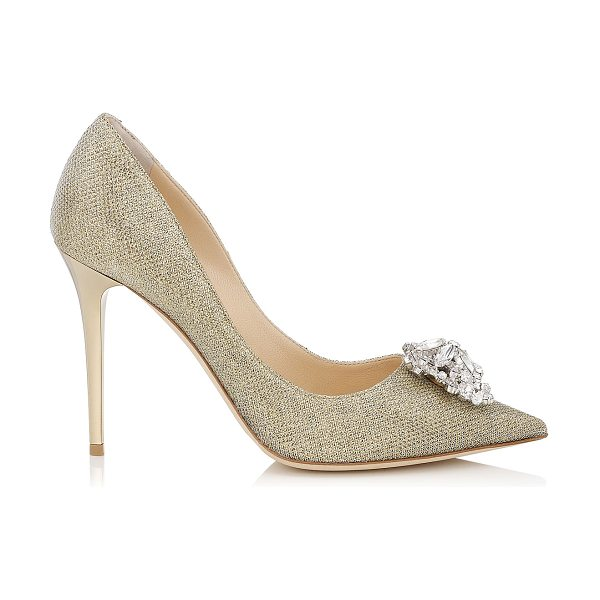Jimmy Choo MANDA Gold Lamé Glitter Pumps with Crystal Detail in gold - An embellished pointy toe pump. The multi-faceted piece...