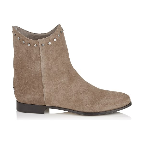JIMMY CHOO MARCO FLAT Light Mocha Suede Ankle Boots - The suede Marco is a modern take to the classic ankle...