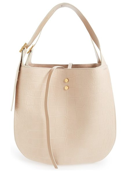 Jimmy Choo 'mardy' croc embossed leather shopper in nude - A standout shoulder bag crafted from croc-embossed...