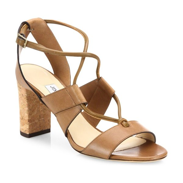 Jimmy Choo margo 80 cork-heel leather lace-up sandals in tan - Leather cork-heel sandal with tubular lace-up strap....