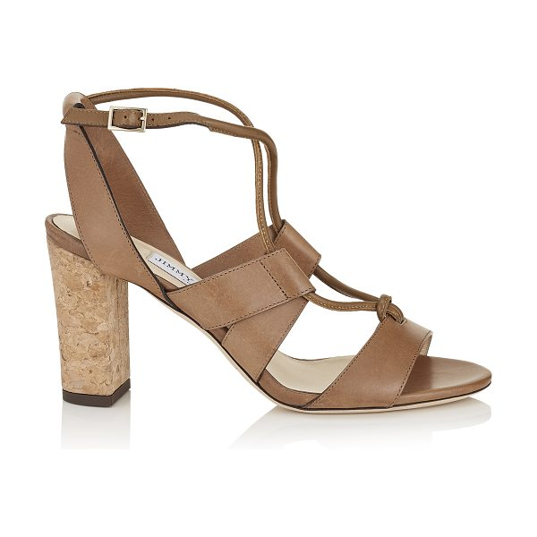 Jimmy Choo MARGO 80 Tan Vacchetta Leather Sandals in tan - These strappy sandals are effortlessly chic with their...