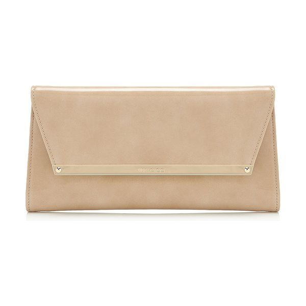 JIMMY CHOO MARGOT Nude Patent and Suede Clutch Bag - A versatile, modern style with a sleek silhouette,...
