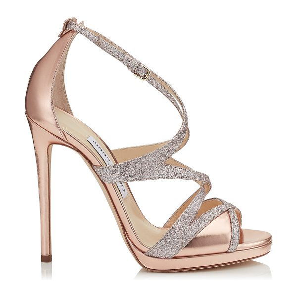 Jimmy Choo MARIANNE 120 Tea Rose Mirror Leather and Fine Glitter Sandals. in tea rose/tea rose - A true investment piece with longevity and sex appeal,...