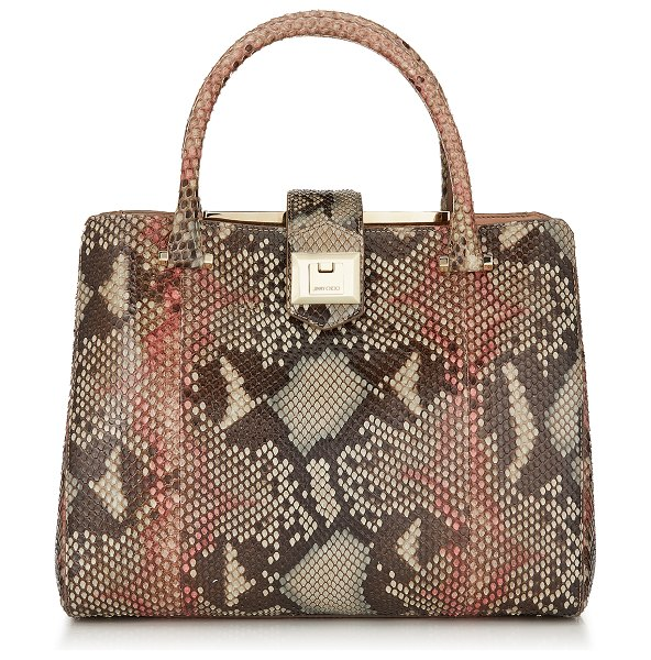 Jimmy Choo MARIANNE Rosewood Mix Painted Desert Python Tote Bag in rosewood mix