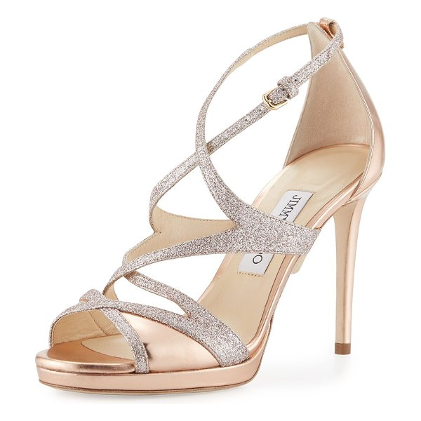 Jimmy Choo Marianne Strappy 100mm Sandals in gold - Jimmy Choo cage sandal in fine-glitter fabric and...
