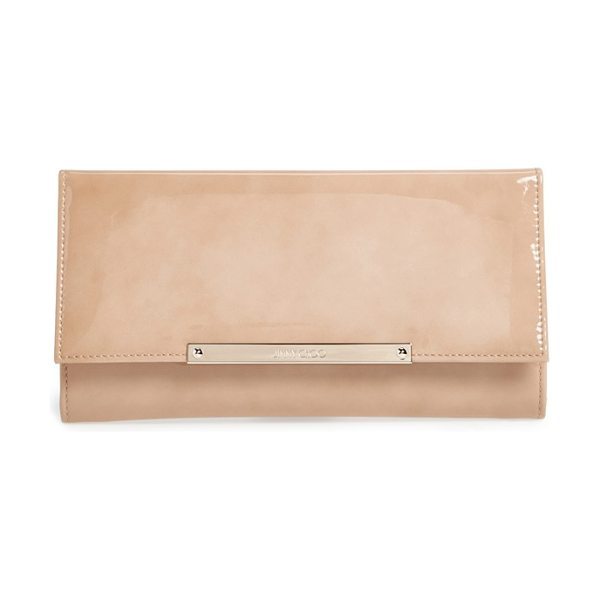 JIMMY CHOO Marilyn patent clutch - A sleek, logo-etched bar polishes a streamlined envelope...