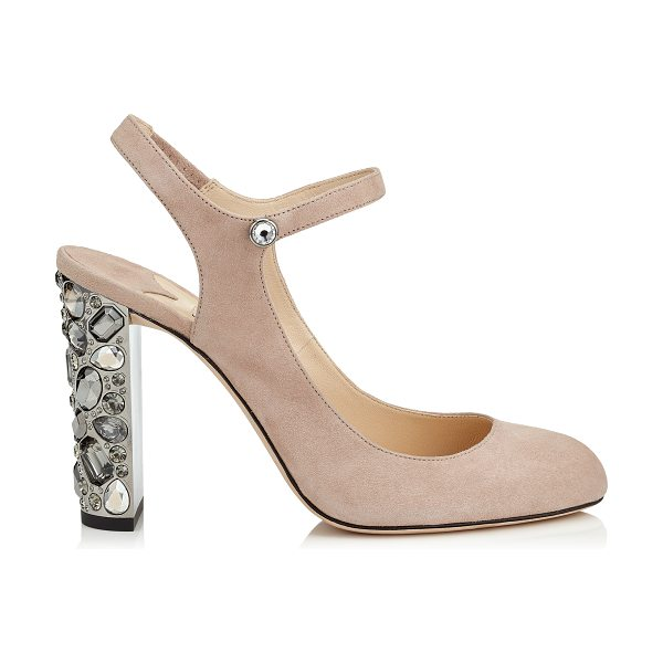 JIMMY CHOO MEAGAN 100 Ballet Pink Suede Round Toe Pumps with Metallic Embellished Heels - Meagan in ballet pink suede projects a moody disco...