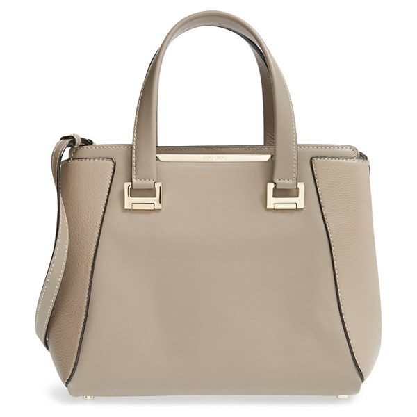 JIMMY CHOO Medium alfie leather satchel - A mix of smooth and pebbled leather adds rich dimension...