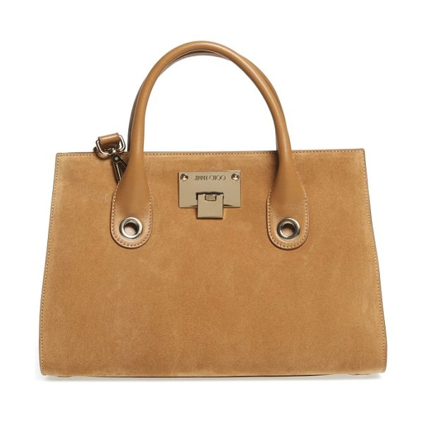 Jimmy Choo medium riley suede tote in hazel - A lightly structured tote gets refreshed in lush suede...