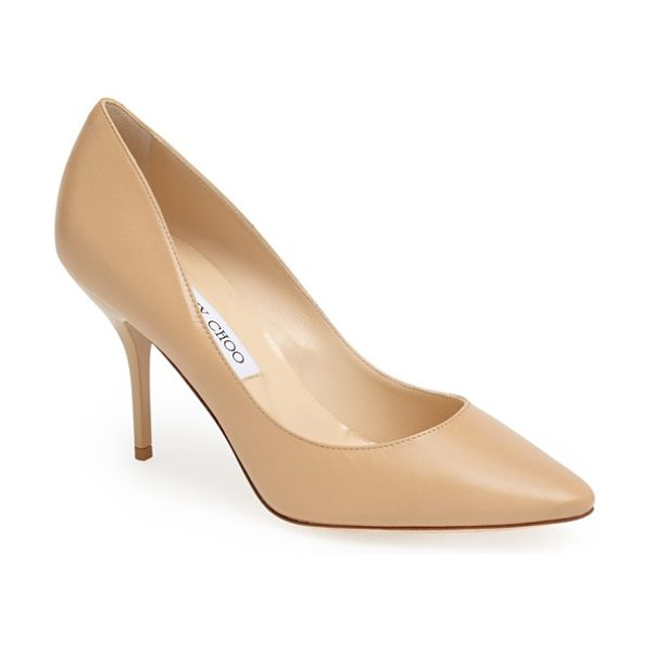 Jimmy Choo mei almond toe leather pump in nude - A glossy mid heel provides textural contrast for Jimmy...