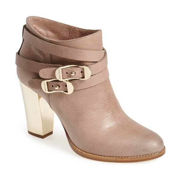 Jimmy Choo melba leather bootie in sand - Logo-engraved goldtone hardware brands a supple...