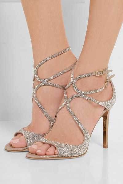 Jimmy Choo memento lang crystal-embellished metallic suede sandals in beige - Jimmy Choo's classic 'Lang' sandals are updated with...