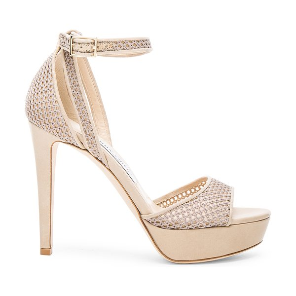 Jimmy Choo Mesh Kayden Heels in neutrals - Mesh upper with leather sole.  Made in Italy.  Approx...