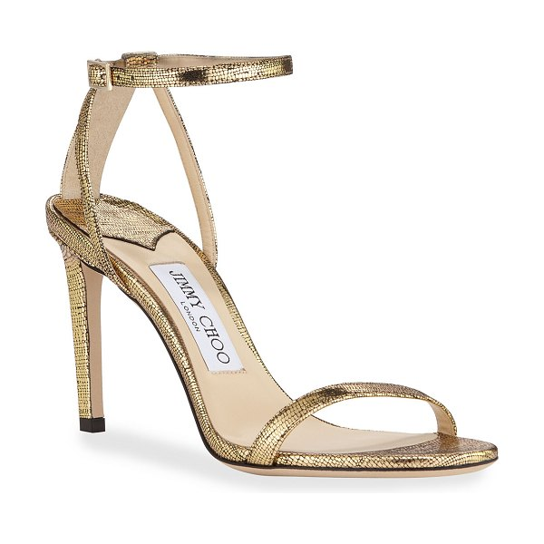Jimmy Choo Metallic Textured Ankle Sandals in gold
