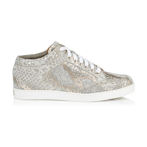 JIMMY CHOO MIAMI Light Khaki Metallic Printed Suede Low Top Trainers - A popular low top lace up trainer, perfect for the...