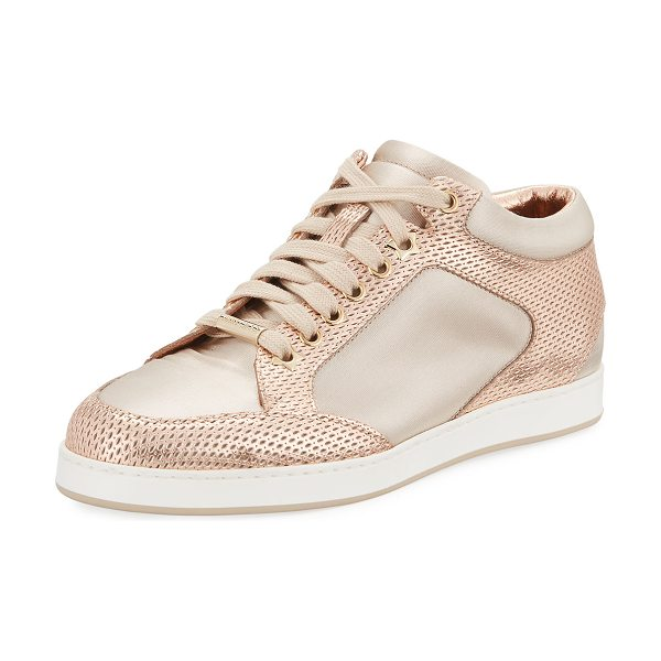 Jimmy Choo Miami Metallic Leather/Satin Sneakers in pink - Jimmy Choo perforated leather sneaker with contrast...