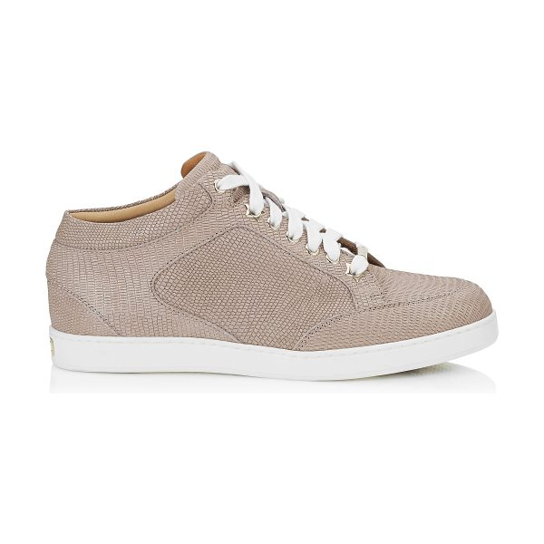 Jimmy Choo MIAMI Nude Glitter Printed Leather Low Top Trainers in nude - A popular low top lace up trainer, perfect for the...