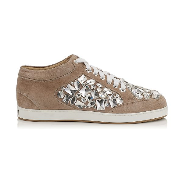 JIMMY CHOO MIAMI Nude Suede with Crystals Low Top Trainers - A popular low top lace up trainer, perfect for the...