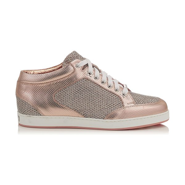 Jimmy Choo MIAMI Tea Rose Metallic Printed Leather and Glitter Low Top Trainers in tea rose - A popular low top lace up trainer, perfect for the...