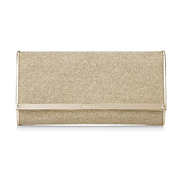 JIMMY CHOO MILLA Gold Lamé Glitter Clutch Bag in gold - Milla is a fun and versatile clutch bag that is also...