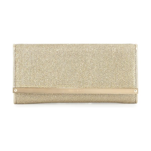 Jimmy Choo Milla Large Glitter Clutch Bag in gold - Jimmy Choo glitter fabric clutch. Removable chain...