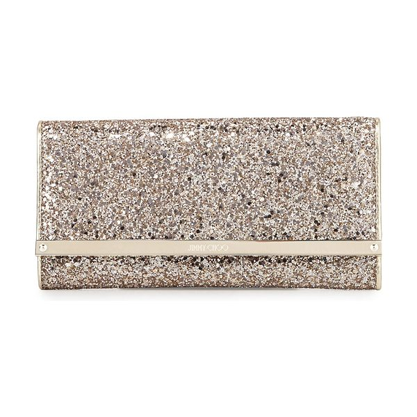 Jimmy Choo Milla Large Glitter Clutch Bag in nude - Jimmy Choo glitter fabric clutch. Removable chain...