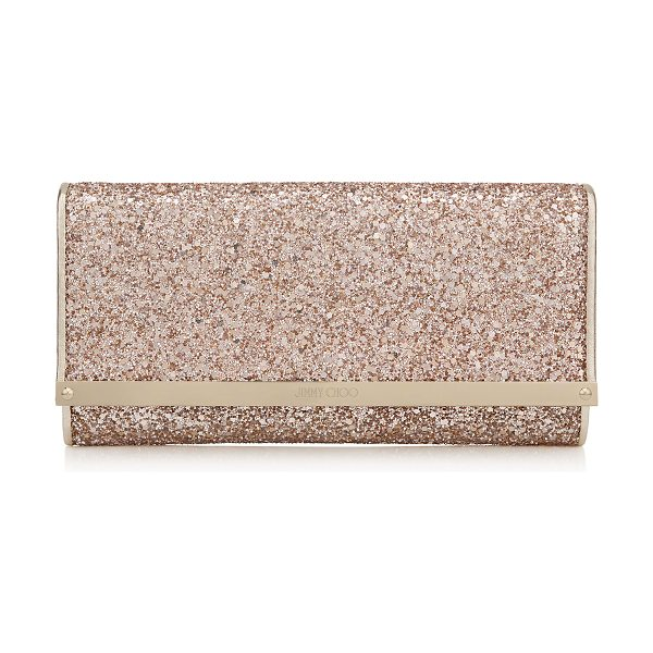 JIMMY CHOO Milla nude shadow coarse glitter fabric accessory clutch bag - A versatile, modern style with a sleek silhouette, Milla...