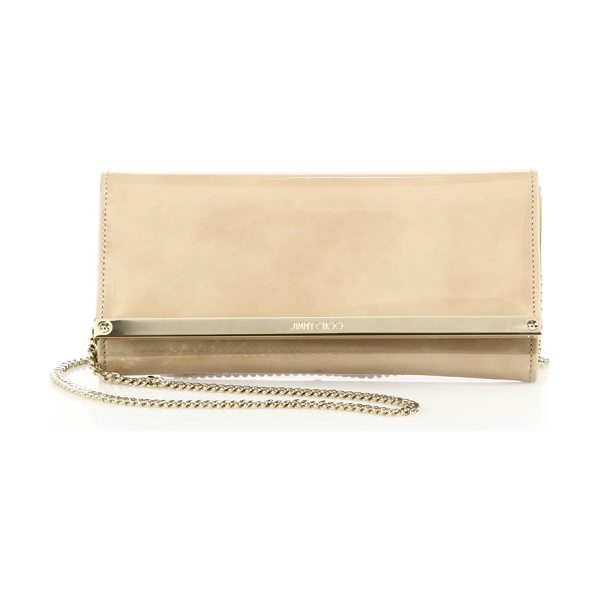 Jimmy Choo milla patent leather & suede clutch in nude - A sleek design in glossy patent leather, this...