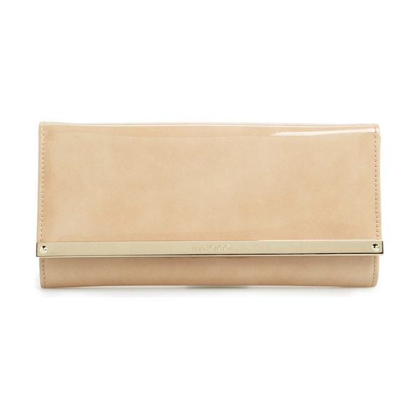 Jimmy Choo 'milla' patent leather wallet on a chain in nude - Liquid-shine patent leather defines the immaculate...