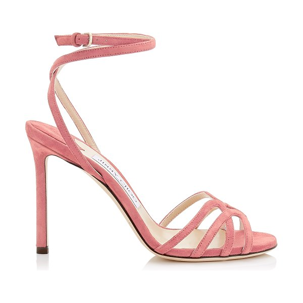 Jimmy Choo MIMI 100 Candyfloss Suede Wrap Around Sandal in candyfloss - The Mimi sandal in candyfloss suede is the epitome of...